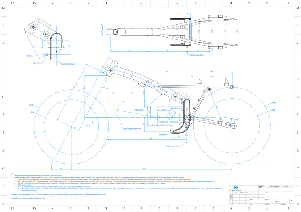 Harley-Davidson Aermacchi CRTT overview assembly drawing with tires and engine data