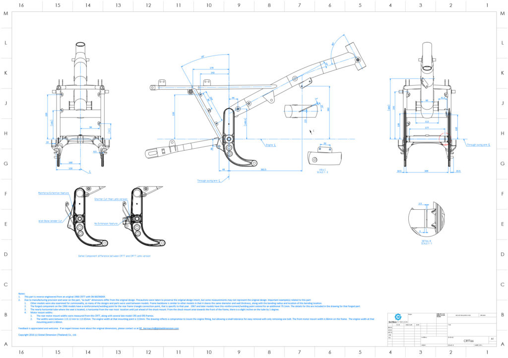 Harley-Davidson Aermacchi CRTT overview assembly drawing with forging data