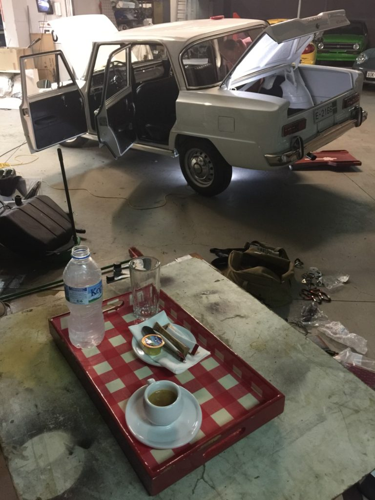 Working on the car, and having some espresso. Fantastic.