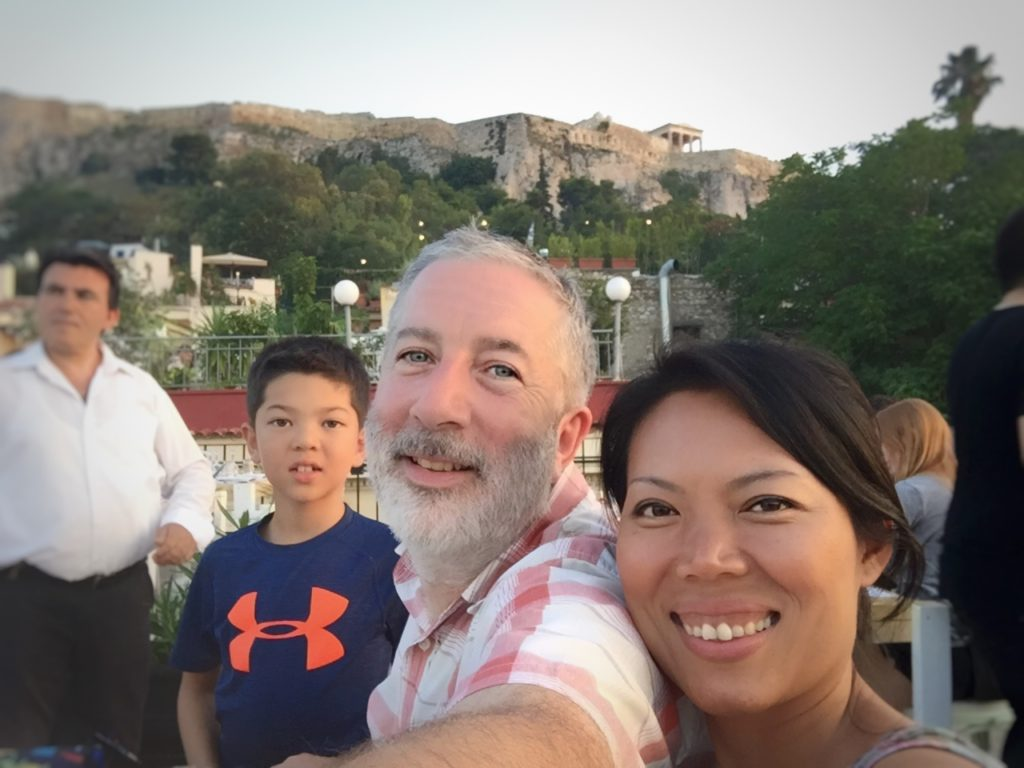 And yet another dinner selfie, with the ever present Acropolis.