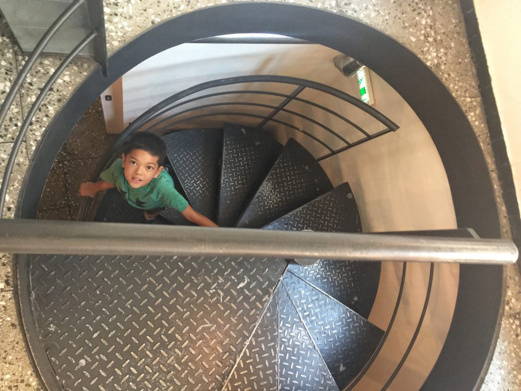 Tiny spiral staircase and Jake.