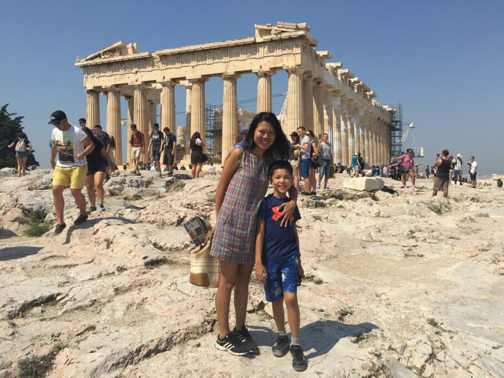 Aey and Jake - with the Acropolis.