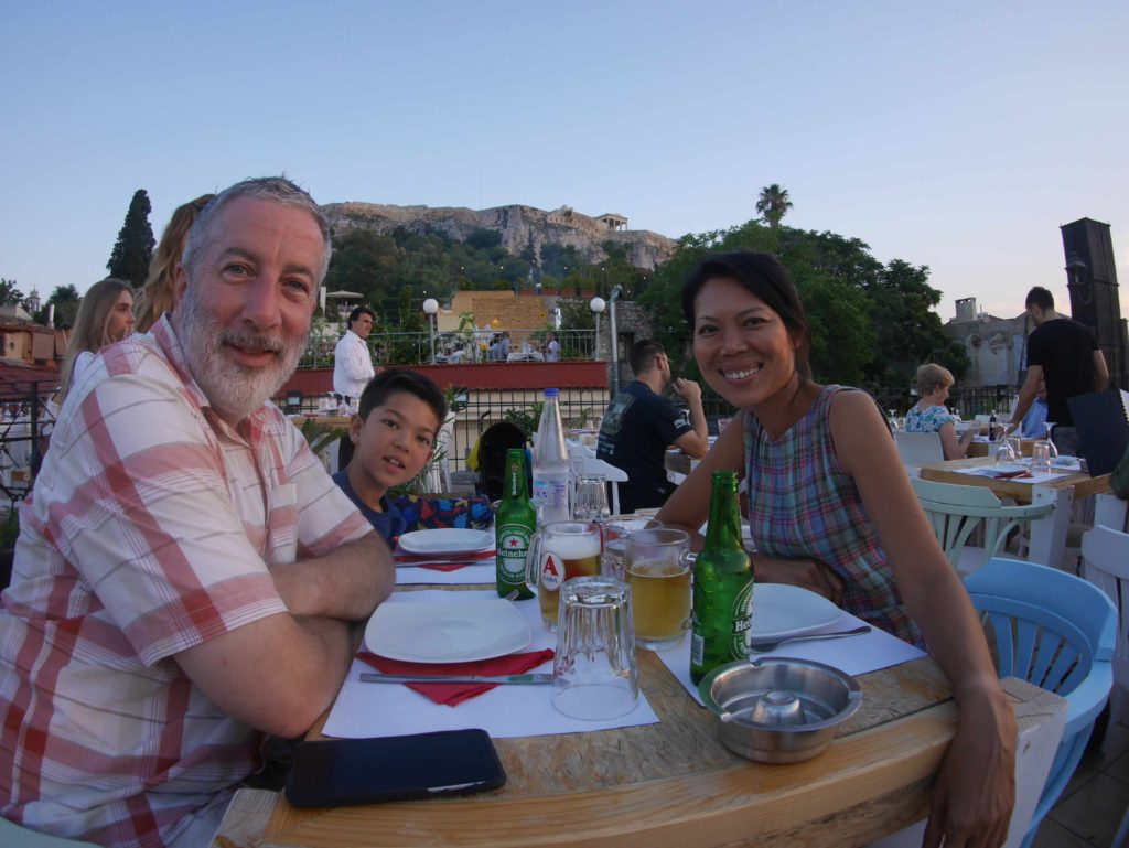 And again, a family dinner selfie (with Acropolis).