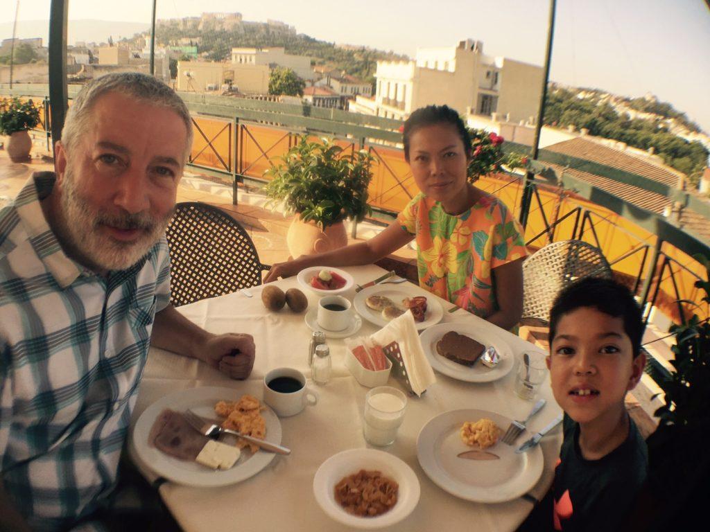 Athens Jason Inn, good breakfast, view of Acropolis.