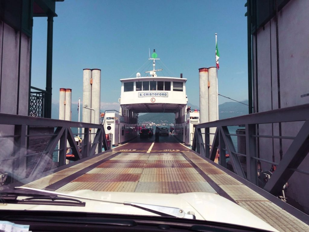 All aboard! Alfa climbs on board the ferry across Lake Maggiore.