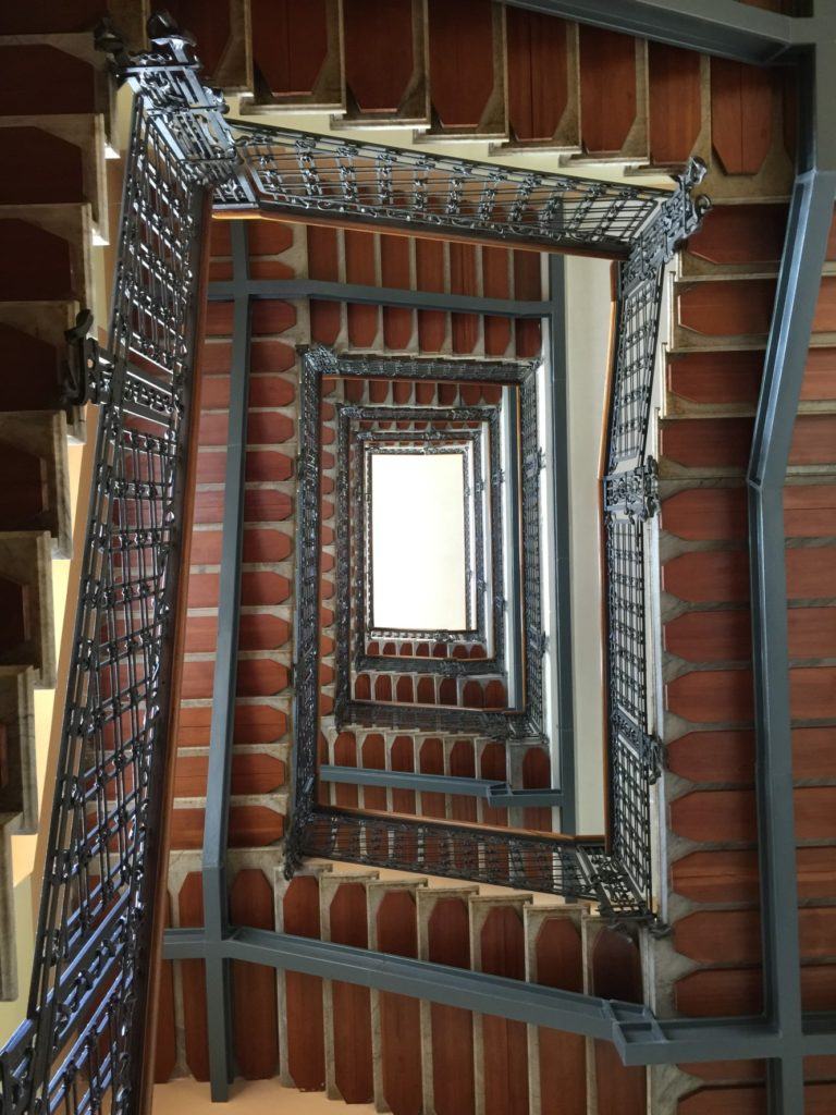 Looking up at the staircase at the Palace Grand Hotel, Varese. M.C. Escher must have had his hand in this!