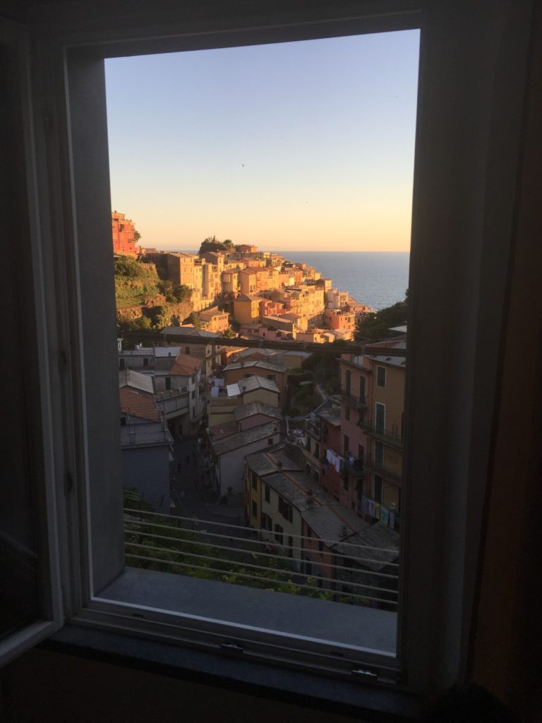 Manarola sunset from our room.