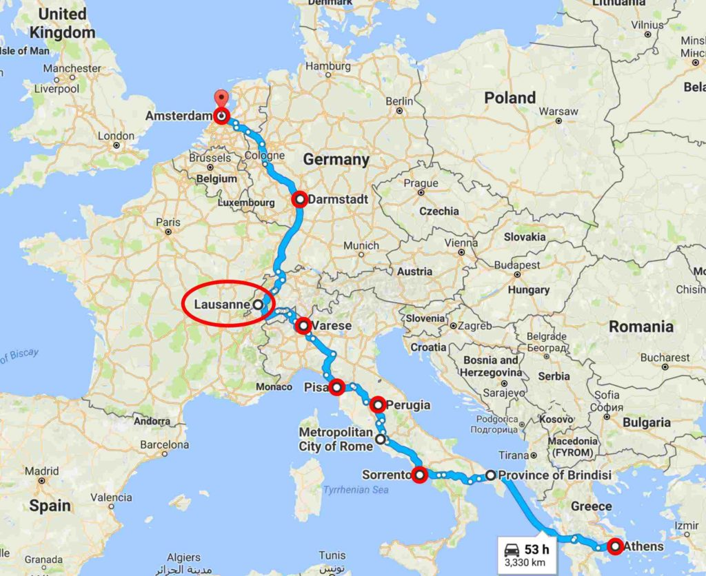 Map - Varese, Italy to Lausanne, Switzerland.