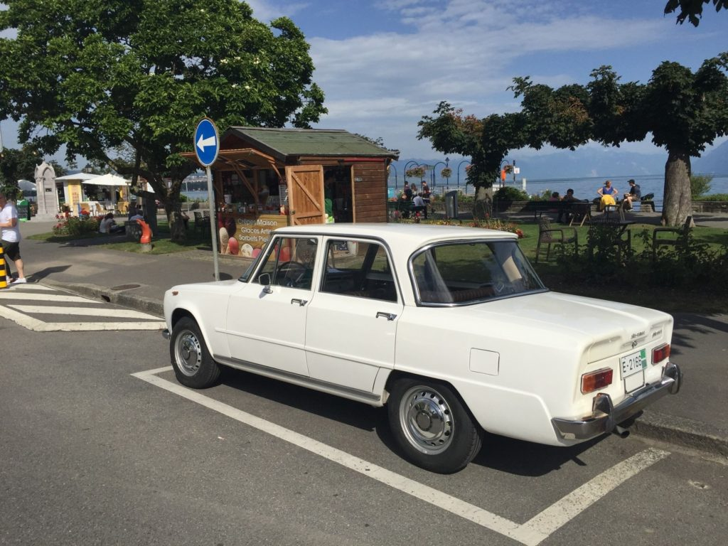 Parking in Morges, Switzerland. The ice cream vendor kept an eye on it.