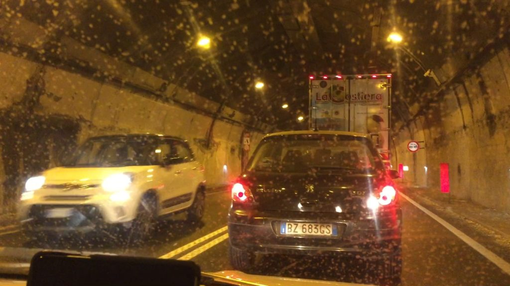 Completely stopped in a tunnel, about 7km (5 miles) to Sorrento. Very hot.