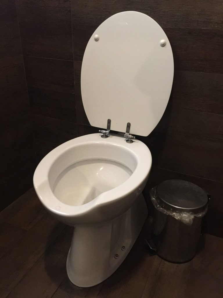 In public bathrooms in Italy, they never have a seat. Makes your thighs strong.