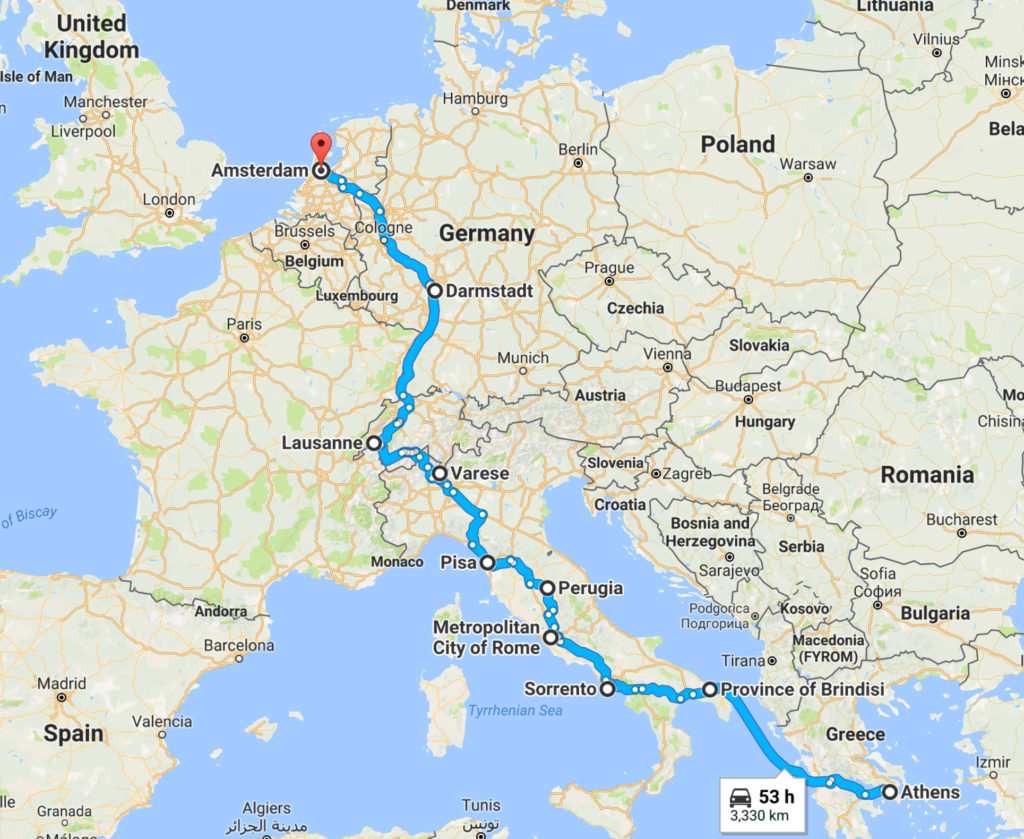 Our little adventure - Athens to Amsterdam.