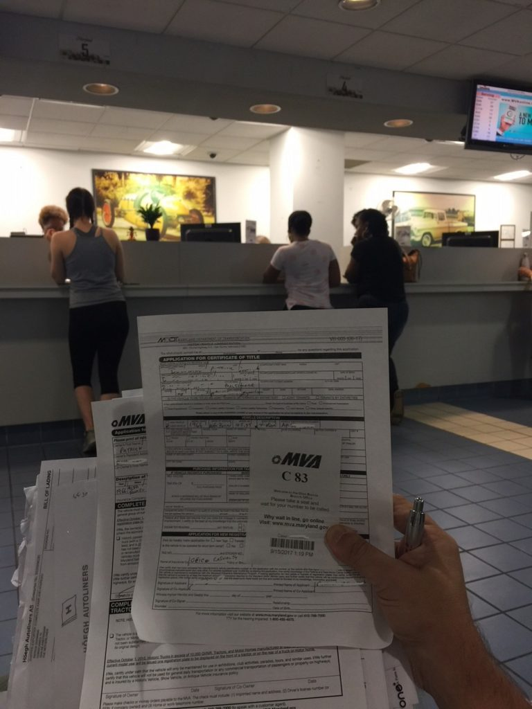 Maryland Department of Motor Vehicles queue.