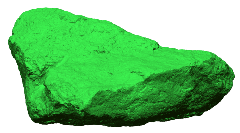 3D scan data of a rock laser scanned with Creaform Metra. Very high resolution.