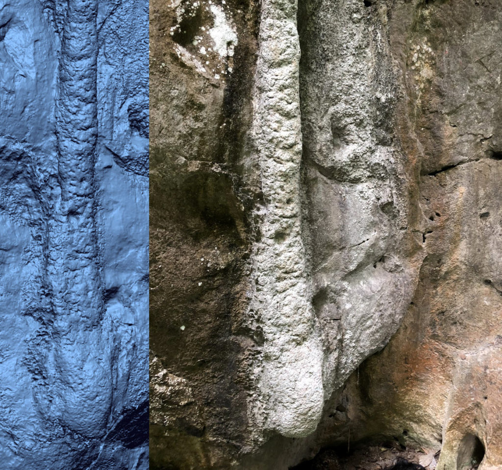 Rock face 3D laser scanned by Creaform Metra.