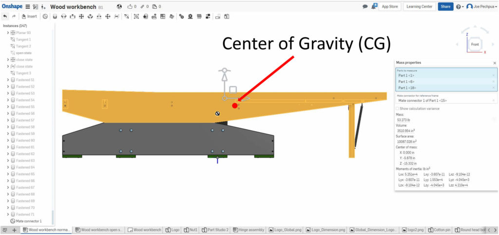 Onshape computes the Center of Gravity (CG).