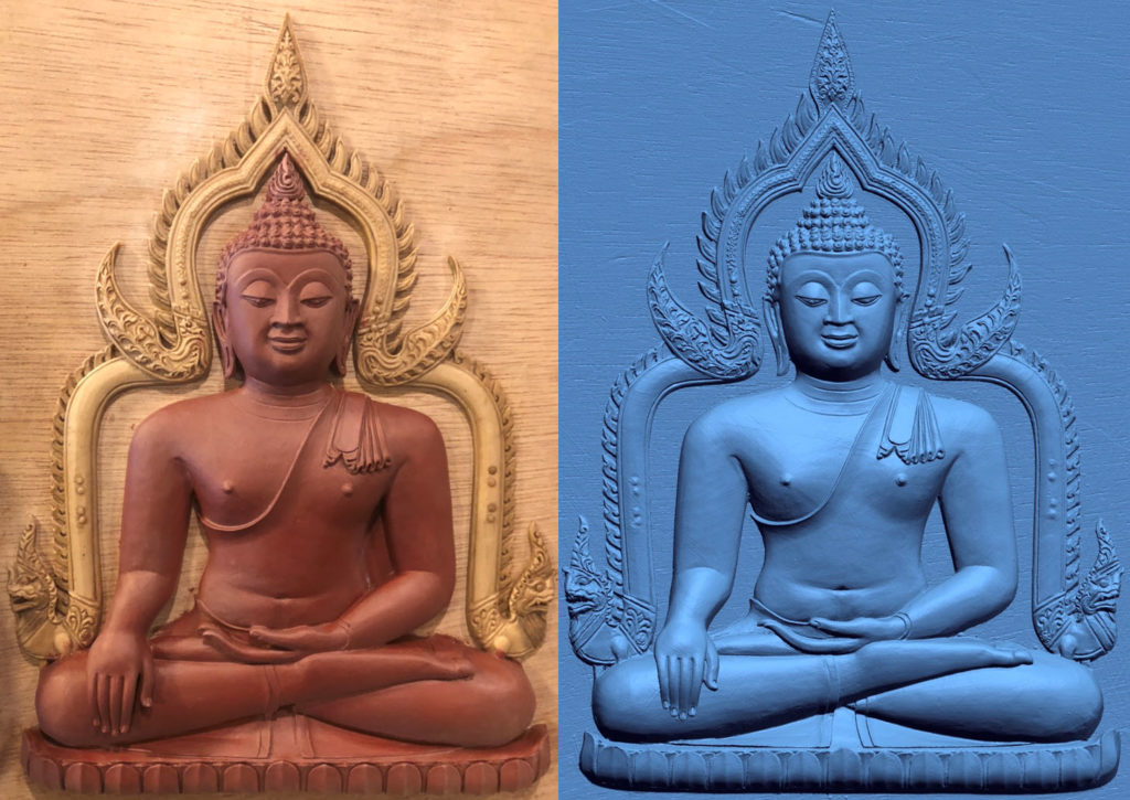 Wax figure of Luang Pho Pet on the left, laser scanned data on the right.