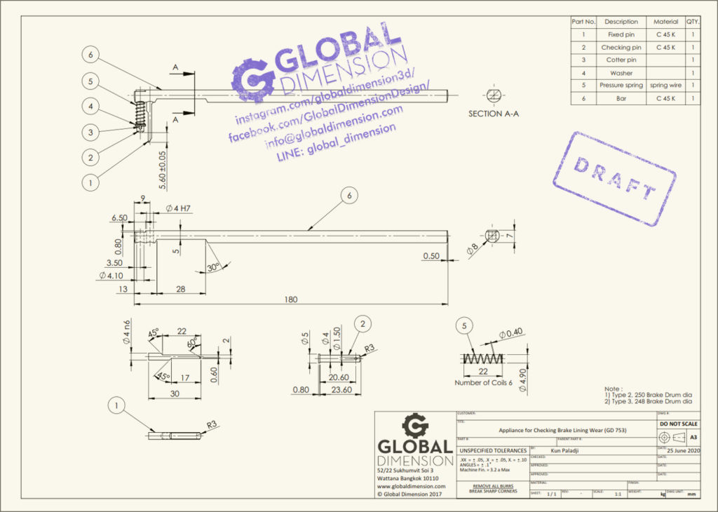 New 2D drawing of 'Appliance for Checking Brake Lining Wear (GD 753)'