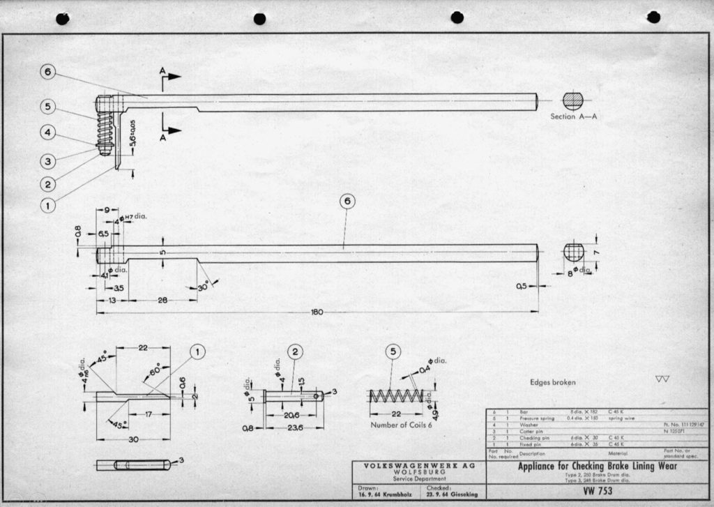 Original VW drawing of 'Appliance for Checking Brake Lining Wear (GD 753)'