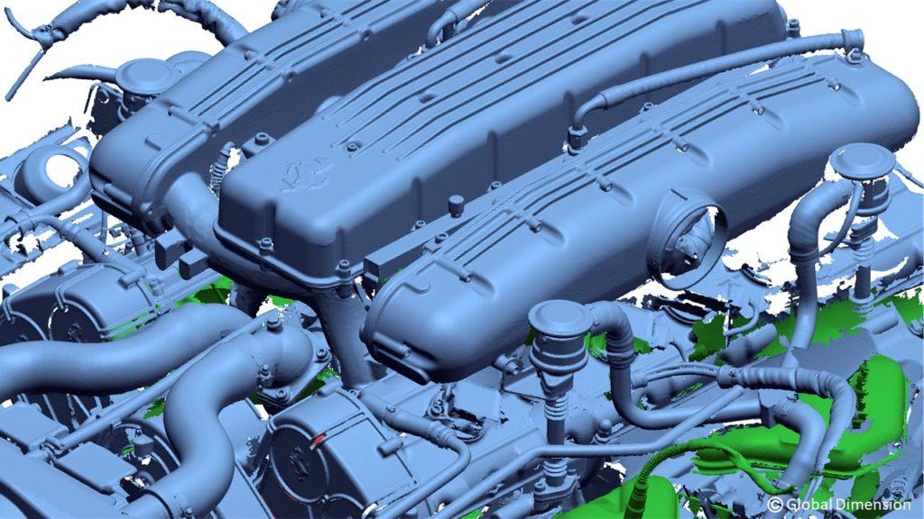 Ferrari laser 3D scan using Creaform Metra, Creaform C-track, Creaform VX Elements, 3D Systems DesigX, 3D System Wrap, and SolidWorks.