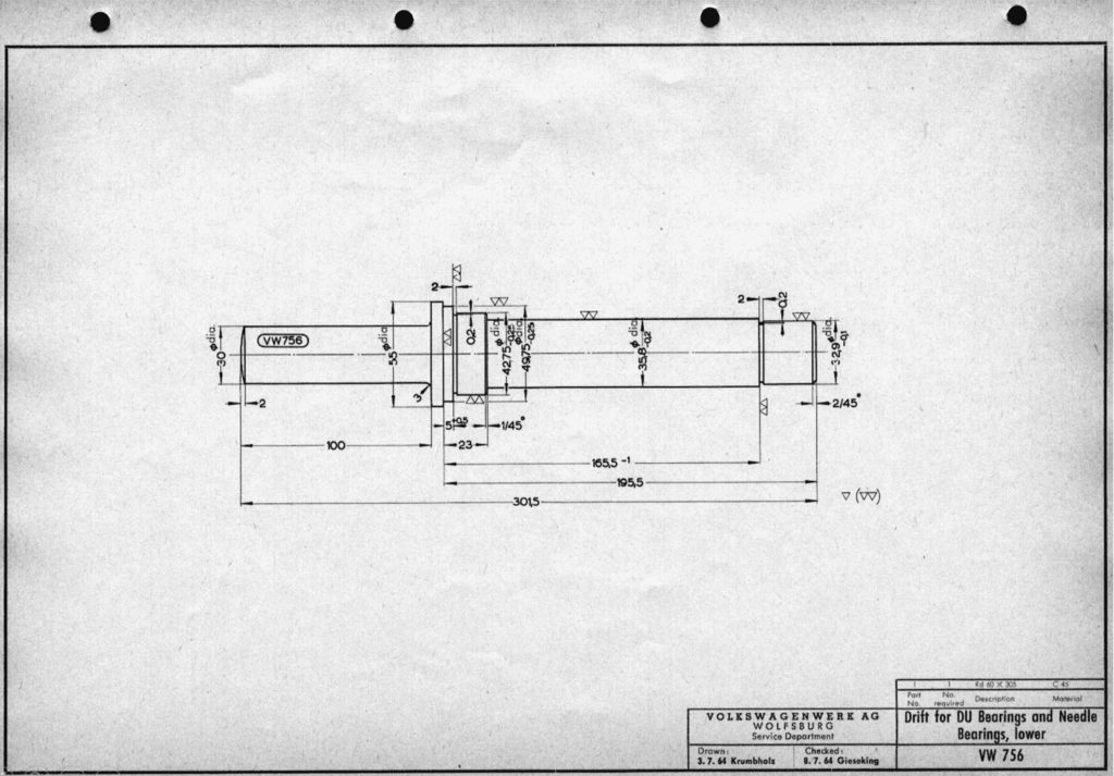 Original VW drawing of 'Drift for DU bearings and needle bearings, lower (VW 756)'