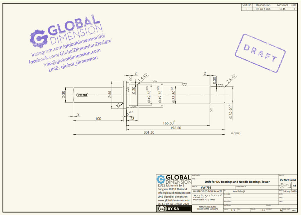 New 2D VW drawing of 'Drift for DU bearings and needle bearings, lower (VW 756)'