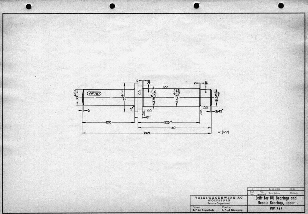 Original VW drawing of 'Drift for DU bearings and needle bearings, upper (VW 757)'