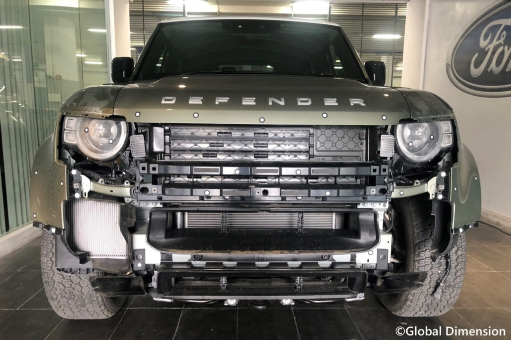 Land Rover Defender 2020, prepped for laser scaning by Creaform Metra and Creaform C-Track.