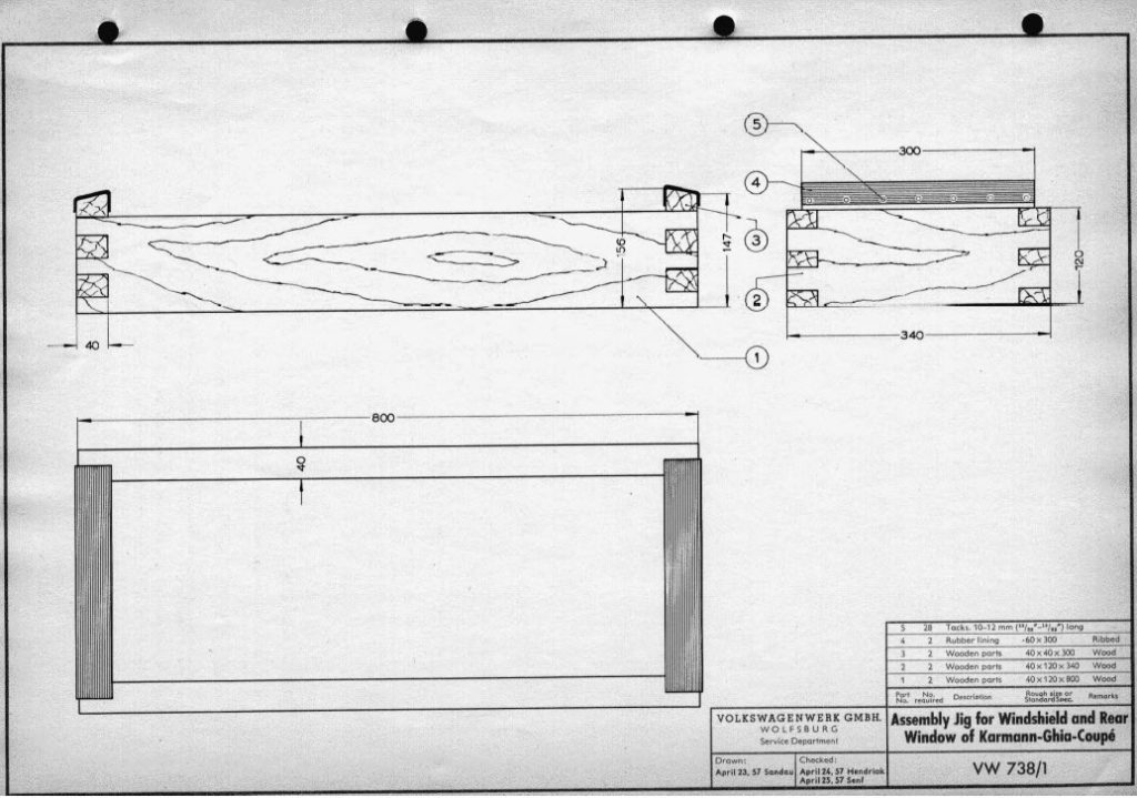 Original 2D drawing of 'Assembly Jig for Windshield and Rear Window of Karmann Ghia Coupe (VW 738-1)'