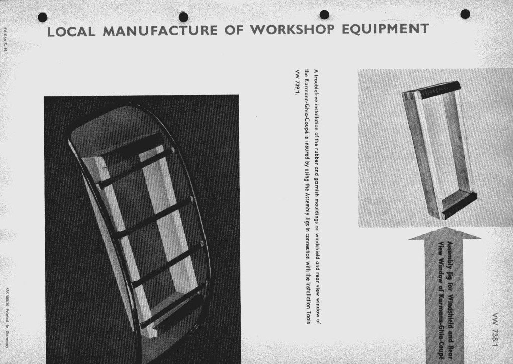 Original instructions of 'Assembly Jig for Windshield and Rear Window of Karmann Ghia Coupe (VW 738-1)'