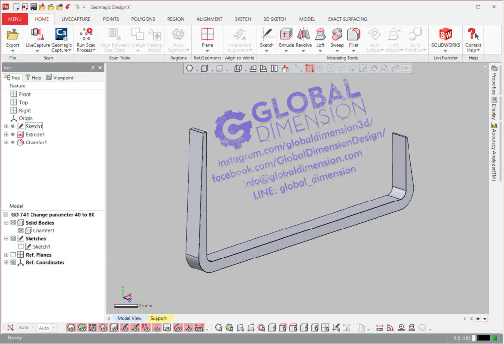 Reproducing a part using Creaform, Geomagic DesignX, Wrap and SolidWorks